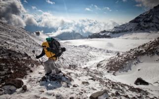 Climbing to Kazbek
